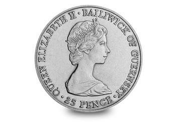 Guernsey 1981 Prince Charles Lady Diana Royal Wedding Cuni Crown Obverse