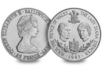 Guernsey 1981 Prince Charles Lady Diana Royal Wedding Cuni Crown Obverse Reverse