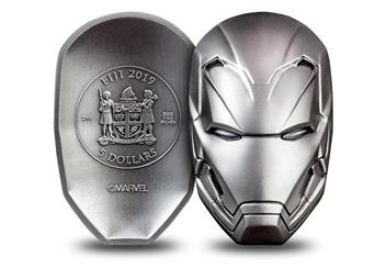 Iron Man Mask Shaped 2Oz Silver Coin Obverse Reverse