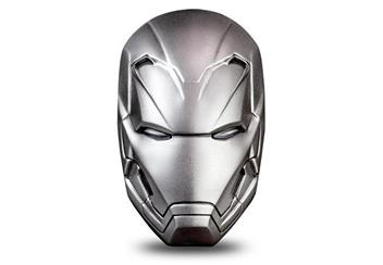 Iron Man Mask Shaped 2Oz Silver Coin Reverse