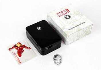 Iron Man Mask Shaped 2Oz Silver Coin With Packaging