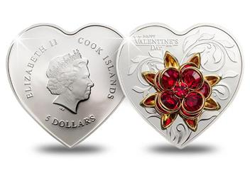 2019 Valentines Day Heart Shaped Silver Proof Coin Obverse Reverse