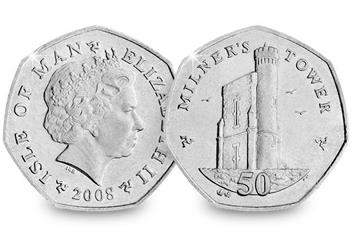 Iom 2008 Milners Tower Cuni 50P Coin Obverse Reverse
