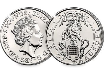 At Change Checker Queens Beasts Yale Of Beaufort Bu 5 Pound Coin Product Images Obverse Reverse 1