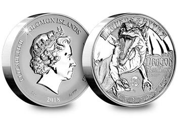 2018 Dragon Ultra High Relief Silver Proof Coin Obverse Reverse
