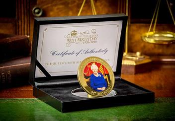 Queens 90Th Birthday Gold Plated Supersize Coin In Display Case Lifestyle