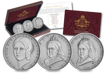 Victoria 200Th Birthday Iom Silver Antique Five Pound Three Coin Set