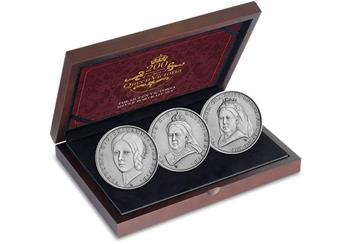 Victoria 200Th Birthday Iom Silver Antique Five Pound Three Coin Set In Display Case