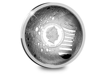 Moon Landing 50Th Concave Silver Proof Coin Obverse