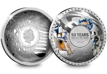 Moon Landing 50Th Concave Silver Proof Coin Obverse Reverse