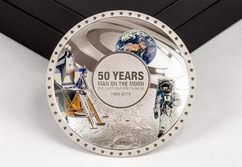 Moon Landing 50Th Concave Silver Proof Coin Reverse3
