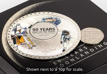 Moon Landing 50Th Concave Silver Proof Coin With 10P