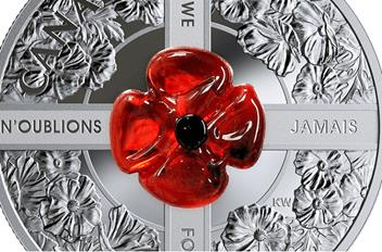 RCM Murano Glass Poppy Remembrance Coin Close-up.png
