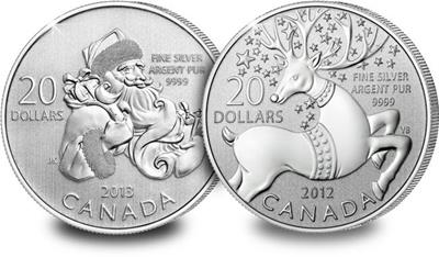 Canada $20 Christmas Silver Coin Pair