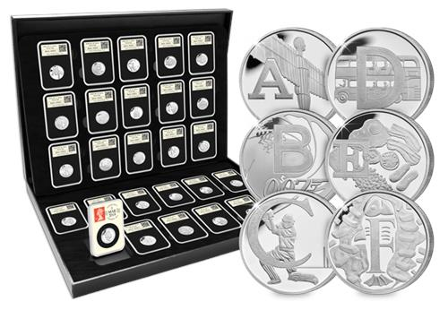 A-Z Silver DateStamp six coins and box