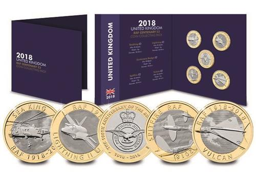 Dn 2018 Cc Raf 2 Coins Seaking Vulcan Badge Spitfire Lightening Collector Pack Mock Up Product Images