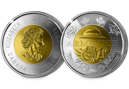 At Change Checker Canada Armistice 2 Dollar 2018 Obverse Reverse 1