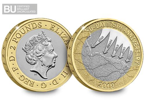 2019 Certified Bu D Day 2 Pound Coin Product Images Obverse Reverse Logo