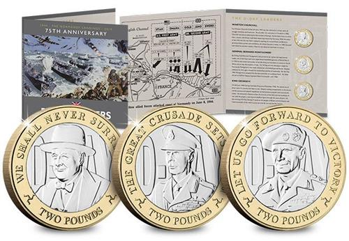 D Day 75Th Leaders Iom Cuni Bu Two Pounds Three Coin Set