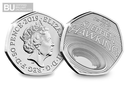 Life Of Stephen Hawking 50P Both Sides Logo