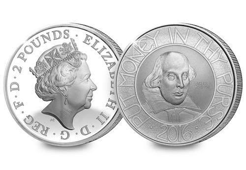 Shakespeare Silver Proof 2 Pound Obverse Reverse