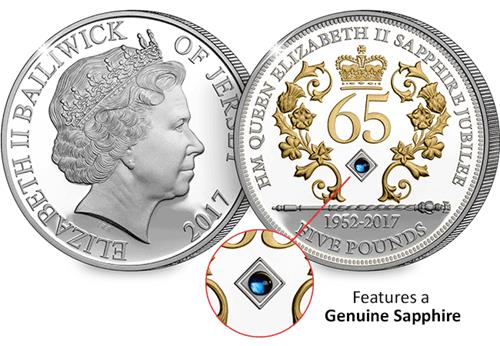 Sapphire Jubilee Jersey Five Pound Silver Coin