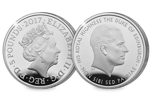 Prince Philip Silver Proof £5 Obverse/Reverse
