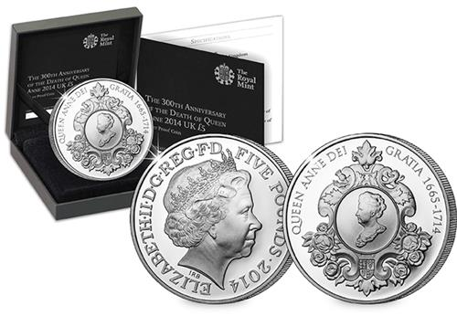 Queen Anne Silver Proof 5 Pound Coin Main