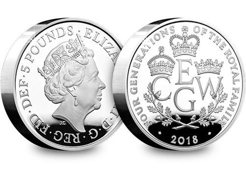 UK 2018 Four Generations Of Royalty Silver Proof Piedfort Five Pound Coin Obverse Reverse