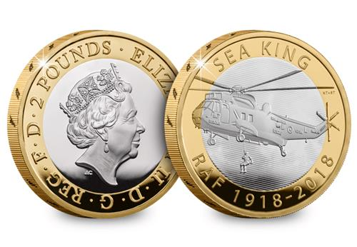 UK 2018 RAF 100Th Sea King Silver Proof Two Pound Coin Obverse Reverse