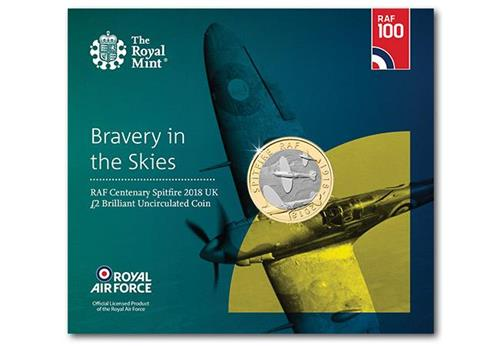 UK 2018 RAF 100Th Spitfire BU Two Pound Coins In Royal Mint Packaging