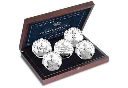 Coronation 65Th Silver Proof Fifty Pence Coin Set In Display Case