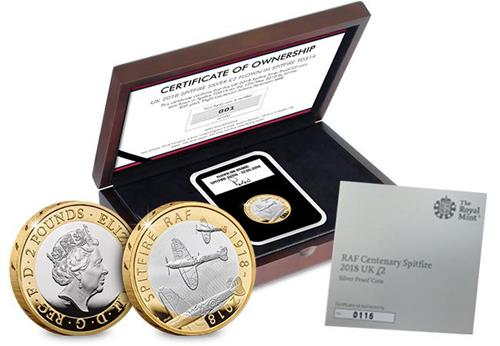Raf 100Th Uk 2018 Spitfire Silver Proof Two Pound Coin Flown In Td314 Main Product