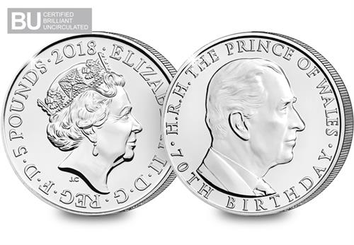 70th-Birthday-of-the-Prince-of-Wales-2018-UK-£5-BU-obverse-reverse
